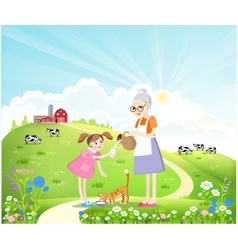 Dairy farm in the summer landscape vector image