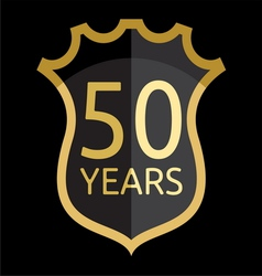 Golden shield 50 years vector image vector image