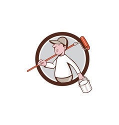 House Painter Paint Roller Can Circle Cartoon vector image vector image
