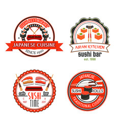 japanese sushi bar icons with asian food vector image