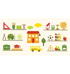 Multicolored school objects set vector image vector image