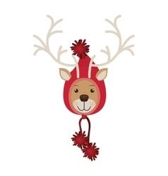 Reindeer head with christmas woolen hat shape hood vector
