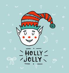 santa claus kid cartoon elf helper working with vector image