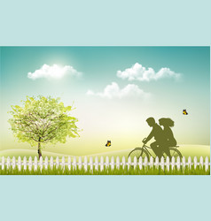 spring nature meadow landscape with a bicycle and vector image