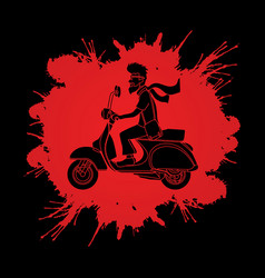 A man ridin classic scooter graphic vector
