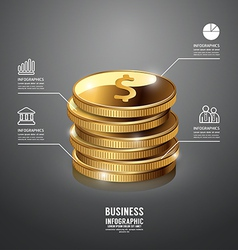 Infographic Gold Coin Business Template vector image