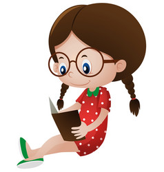 little girl reading storybook vector image vector image