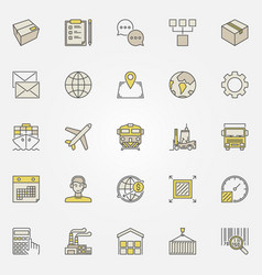 logistics and transportation colorful icons vector image