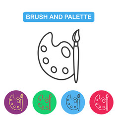 Paint brush with palette icon vector