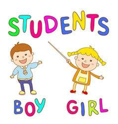 school kids - cute boy and girl vector image
