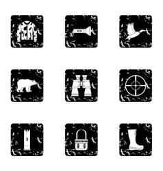 Shooting at animals icons set grunge style vector image vector image