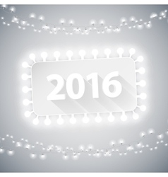 Simple Banner 2016 with Christmas Lights vector image vector image