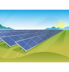 Solar panels farm in green fields during sunrise vector image vector image