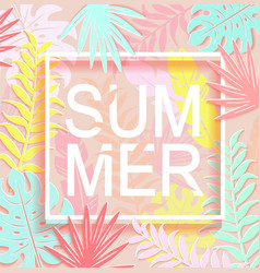 the word summer is surrounded by tropical leaves vector image vector image