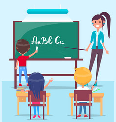 lesson in classroom colorful vector image vector image