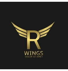 Wings R letter logo vector image