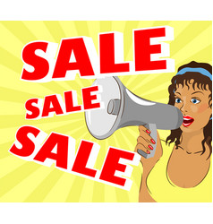 a woman is shouting about a sale vector image