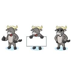 Buffalo Gray Mascot happy vector image