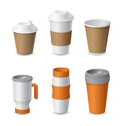 coffee cup and mug template mockup for branding vector image