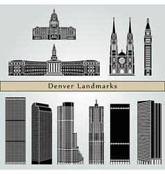 Denver landmarks and monuments vector image vector image