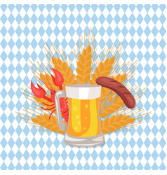 glass of beer with grilled sausage on folk vector image