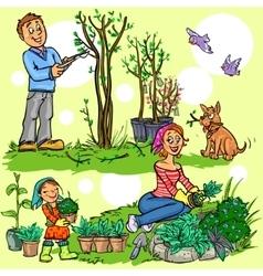 Happy family in garden vector image vector image