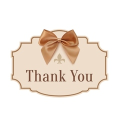 Thank you banner with golden ribbon vector
