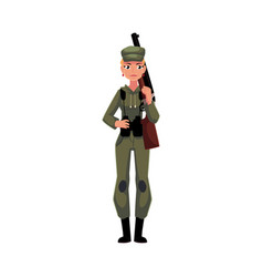 woman hunter in khaki camouflage military style vector image vector image