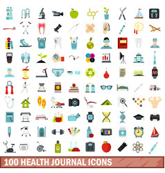 100 health journal icons set flat style vector