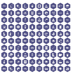 100 water icons hexagon purple vector