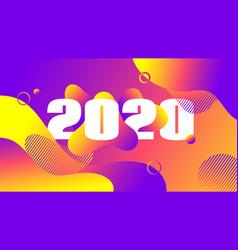 2020 greeting card trendy liquid fluid color vector image