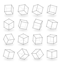 3d modeling square line isolated blocks isometric vector image