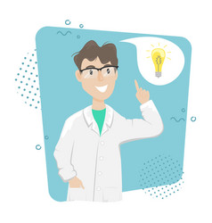 A biologist chemist in a white coat came up with vector