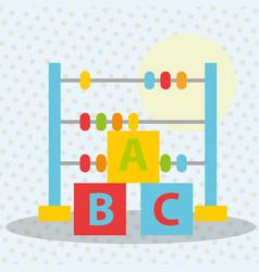 Abacus blocks alphabet toys kinder vector