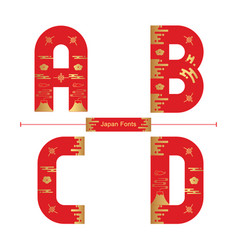 alphabet japan style in a set abcd vector image