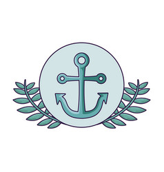 anchor marine in frame circular with leafs vector image