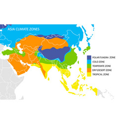 Asia climate zones map geographic vector