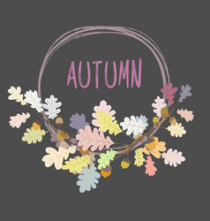 Autumn frame background wreath of leaves vector