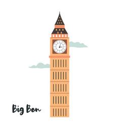 Big ben london famous landmark attraction vector
