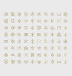 big set geometric snowflakes vector image