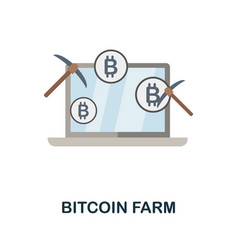 Bitcoin farm flat icon colored sign from vector