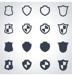 black shield icon set vector image