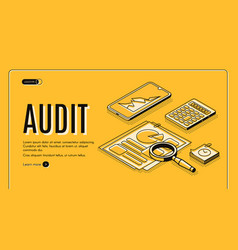 Business audit company isometric website vector