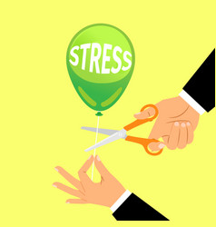 businessman hand cutting stress balloon string vector image