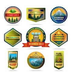 Camping emblems set vector