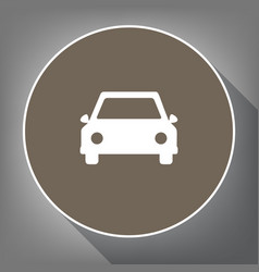 car sign white icon on brown vector image