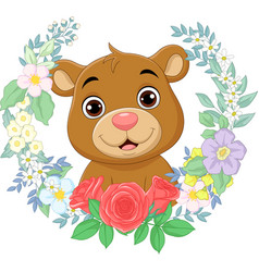 cartoon babear with flowers background vector image