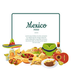 cartoon mexican food below frame with place vector image