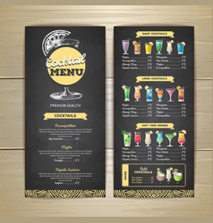 chalk drawing cocktail menu design corporate vector image