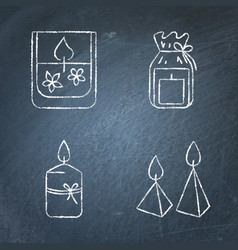 chalkboard candle icons set in line style vector image